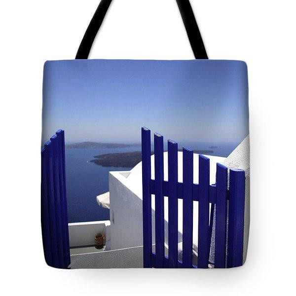Blue Gate Tote Bag by Deborah Benbrook