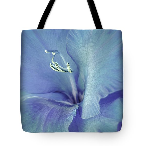 Blue Gladiolus Flower Tote Bag by Jennie Marie Schell