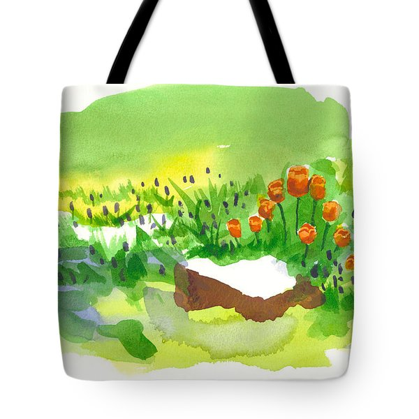 Blue Grape Hyacinths With Red Tulips And Tree Stump Tote Bag by Kip DeVore