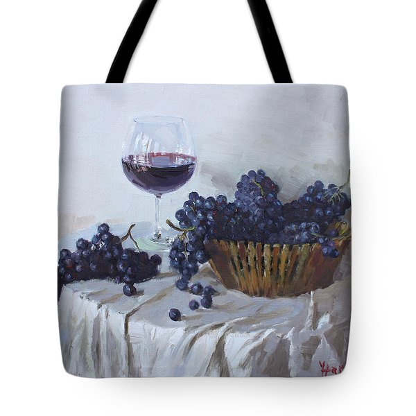 Blue Grapes And Wine Tote Bag by Ylli Haruni