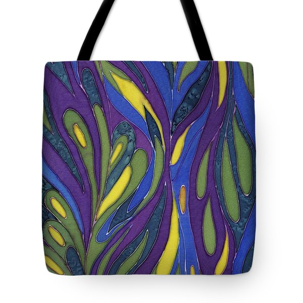 Blue Green Purple Abstract Silk Design Tote Bag by Sharon Freeman