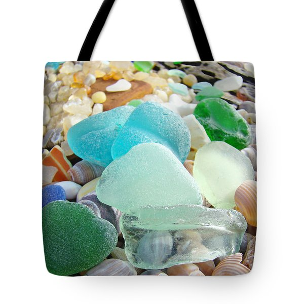 Blue Green Sea Glass Coastal Art Tote Bag by Baslee Troutman Fine Art Prints