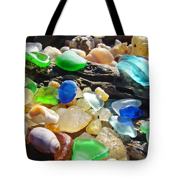Blue Green Seaglass art prinst Agates Shells Tote Bag by Baslee Troutman