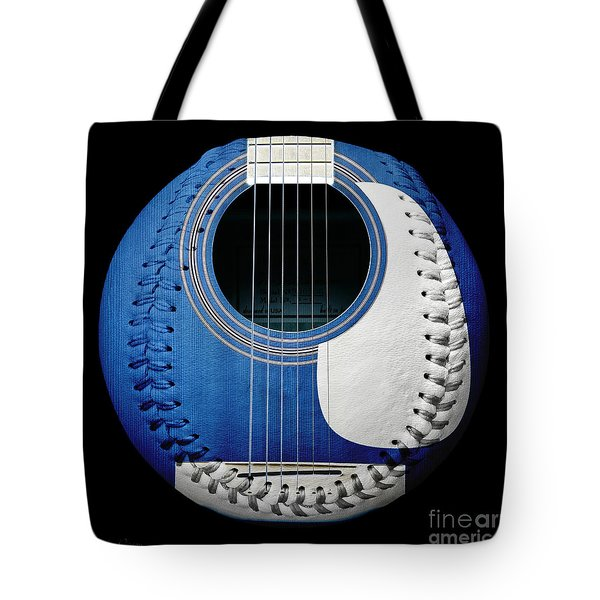Blue Guitar Baseball White Laces Square Tote Bag by Andee Design