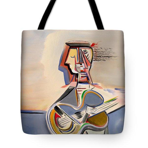 Blue Guitar Tote Bag by Dennis Davis