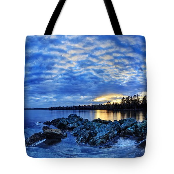 Blue Ice at Sunset Tote Bag by Bill Caldwell -        ABeautifulSky Photography