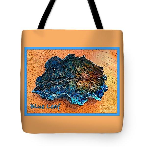 Blue Leaf Ceramic Design 2 Tote Bag by Joan-Violet Stretch