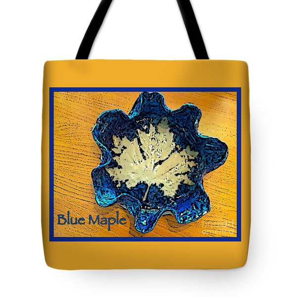 Blue Maple Leaf Dish 2 Tote Bag by Joan-Violet Stretch