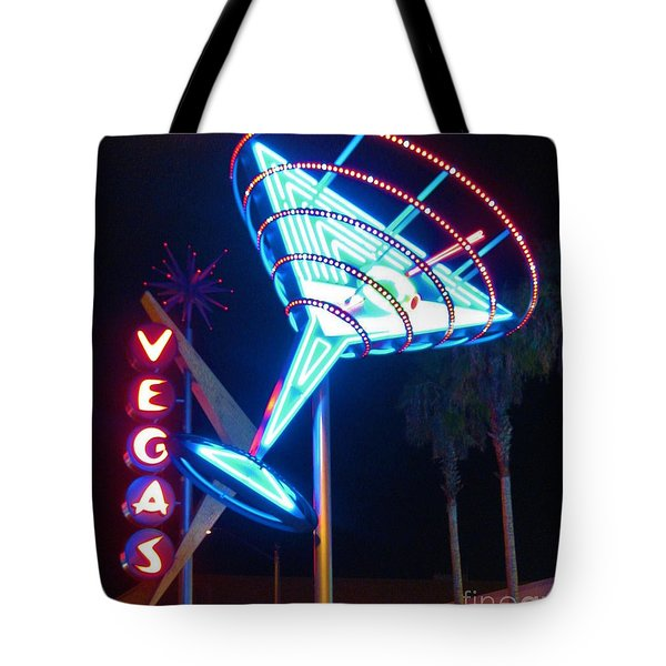Blue Martini Glass Las Vegas Tote Bag by John Malone