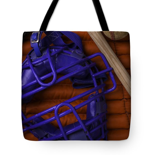 Blue Mask With Bat And Ball Tote Bag by Garry Gay
