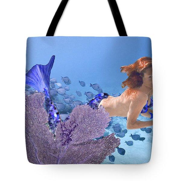 Blue Mermaid Tote Bag by Paula Porterfield-Izzo