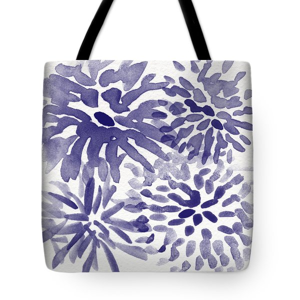 Blue Mums- Watercolor Floral Art Tote Bag by Linda Woods