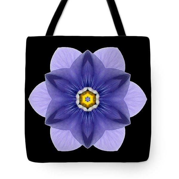 Blue Pansy I Flower Mandala Tote Bag by David J Bookbinder