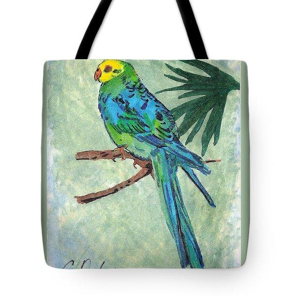 Blue Parakeet Tote Bag by Gail Daley