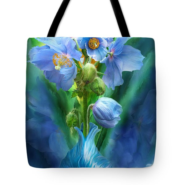 Blue Poppies In Poppy Vase Tote Bag by Carol Cavalaris