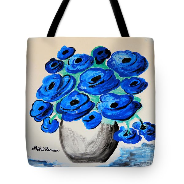 Blue Poppies Tote Bag by Ramona Matei