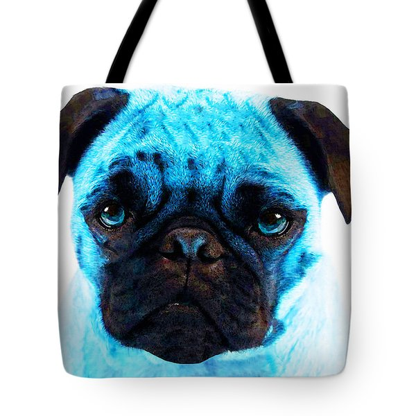 Blue - Pug Pop Art By Sharon Cummings Tote Bag by Sharon Cummings