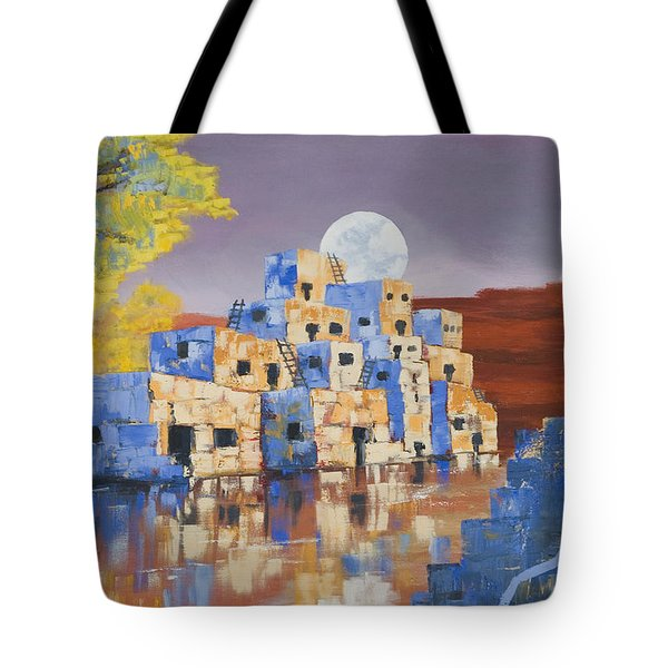 Blue Serpent Pueblo Tote Bag by Jerry McElroy