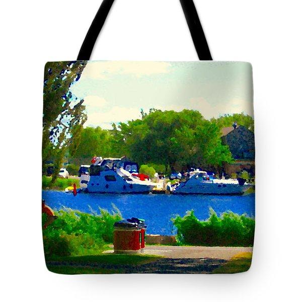 Blue Skies Boats And Bikes Montreal Summer Scene The Lachine Canal Seascape Art Carole Spandau Tote Bag by Carole Spandau