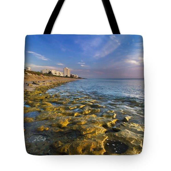 Blue Sky Over Coral Cove Tote Bag by Debra and Dave Vanderlaan
