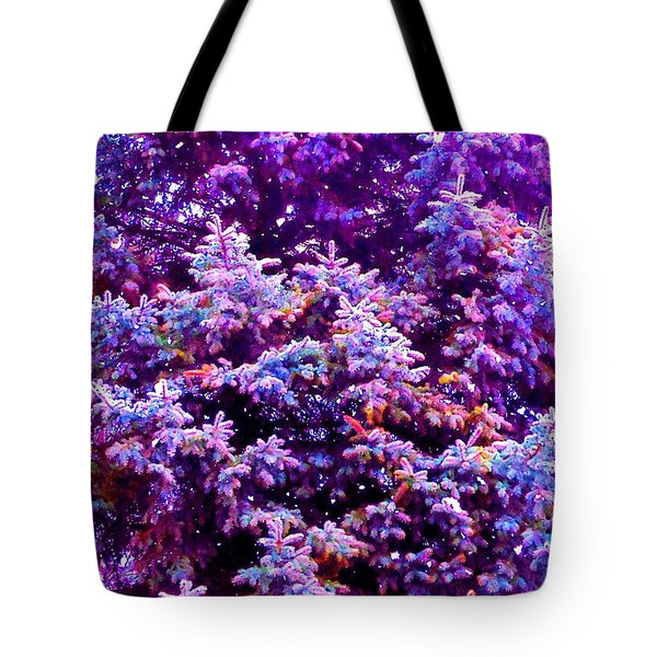 Blue Spruce In The Snow Tote Bag by Ann Johndro-Collins
