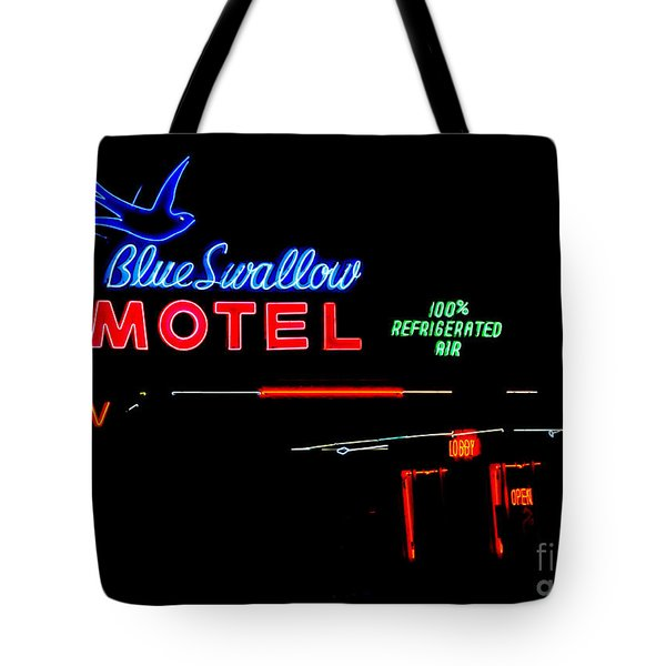 Blue Swallow Motel Neon Sign Tote Bag by Catherine Sherman