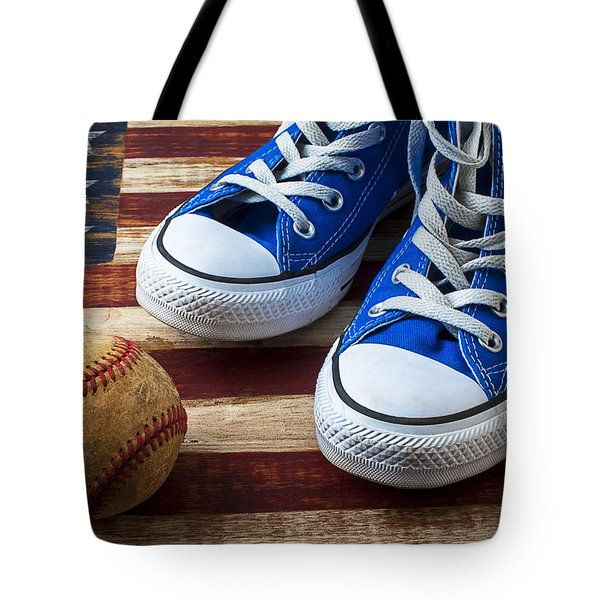 Blue tennis shoes and baseball Tote Bag by Garry Gay