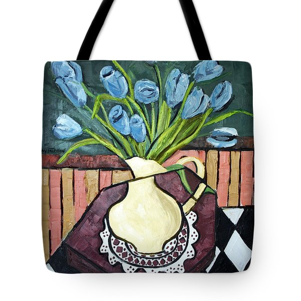 Blue Tulips On Octagon Table Tote Bag by Anthony Falbo