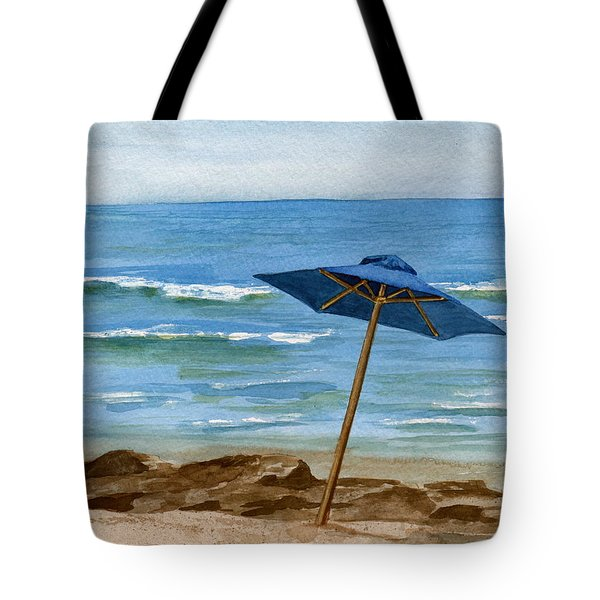 Blue Umbrella Tote Bag by Nancy Patterson