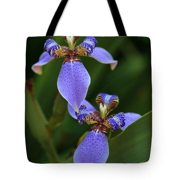 Blue Walking Iris Tote Bag by Carol Groenen