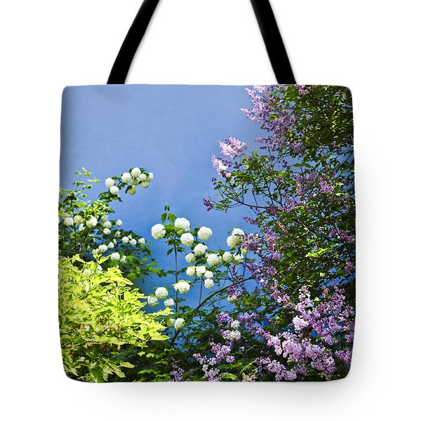 Blue wall with flowers Tote Bag by Elena Elisseeva