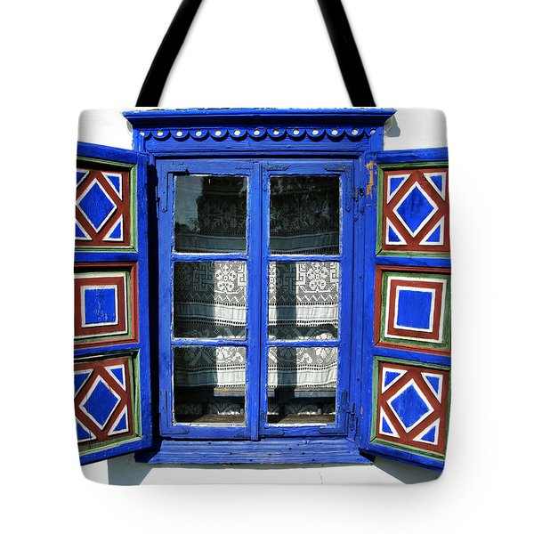 Blue Window Handmade Tote Bag by Daliana Pacuraru