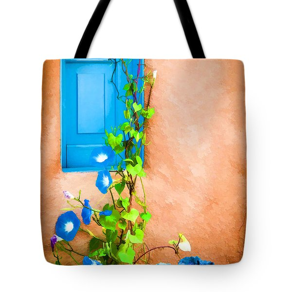 Blue Window - Painted Tote Bag by Bob and Nancy Kendrick