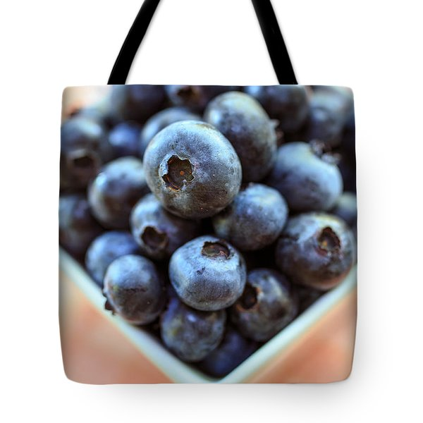 Blueberries Closeup Tote Bag by Edward Fielding