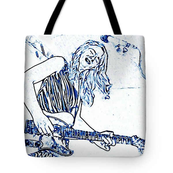 Blues In Blue Tote Bag by Chris Berry