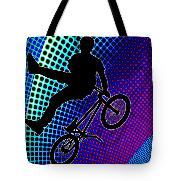 Bmx In Fractal Movie Marquee Tote Bag by Elaine Plesser