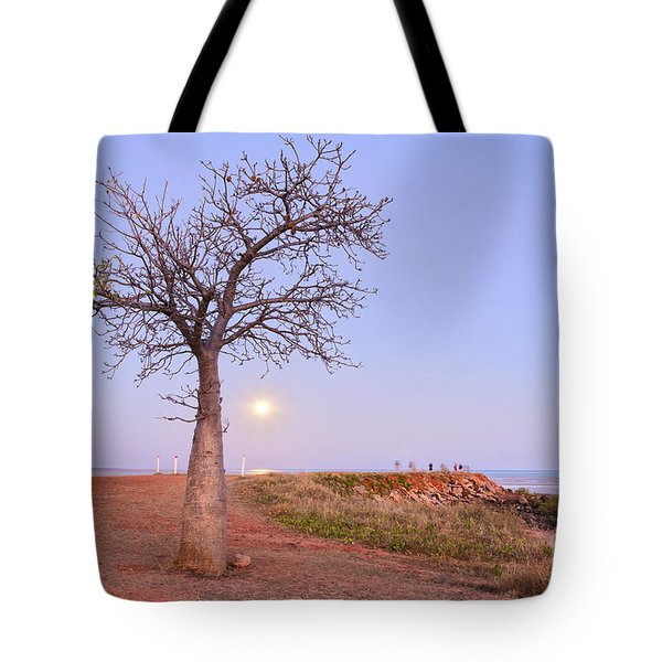 Boab Tree And Moonrise At Broome Western Australia Tote Bag by Colin and Linda McKie