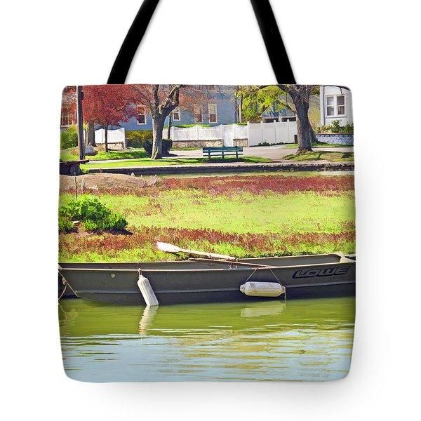 Boat At The Pond Tote Bag by Barbara McDevitt