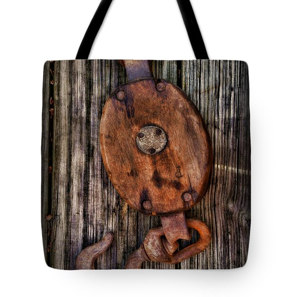 Boat - Block And Tackle Tote Bag by Paul Ward