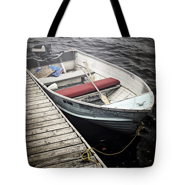 Boat in fog Tote Bag by Elena Elisseeva