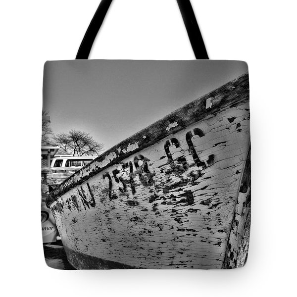 Boat - State Of Decay In Black And White Tote Bag by Paul Ward