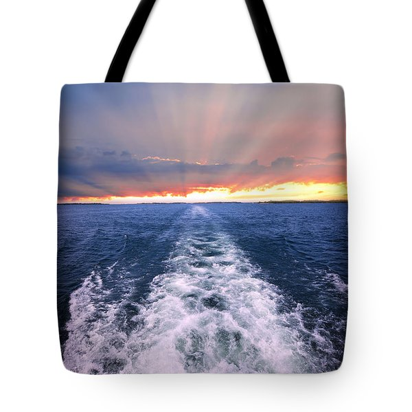 Boat Wake On Georgian Bay  Tote Bag by Elena Elisseeva