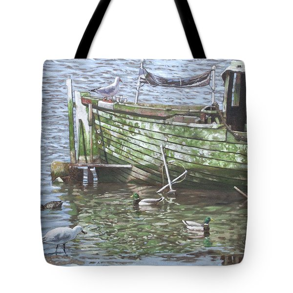 Boat Wreck With Sea Birds Tote Bag by Martin Davey