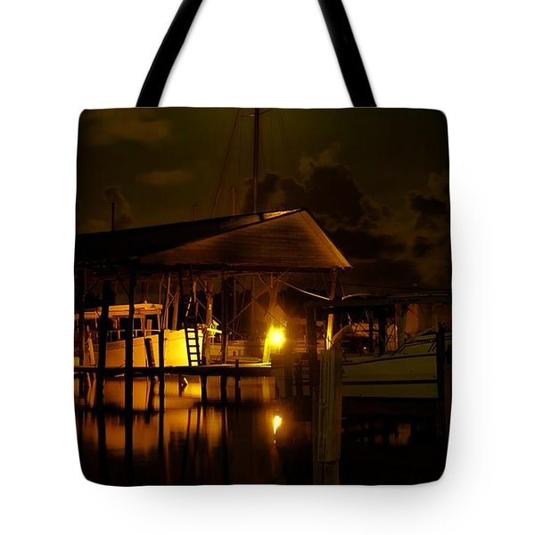 Boathouse Night Glow Tote Bag by Michael Thomas