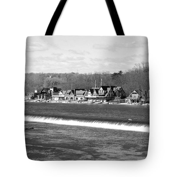 Boathouse Row winter b/w Tote Bag by Jennifer Lyon