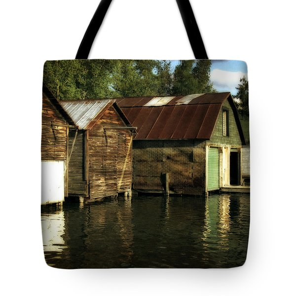 Boathouses On The River Tote Bag by Michelle Calkins