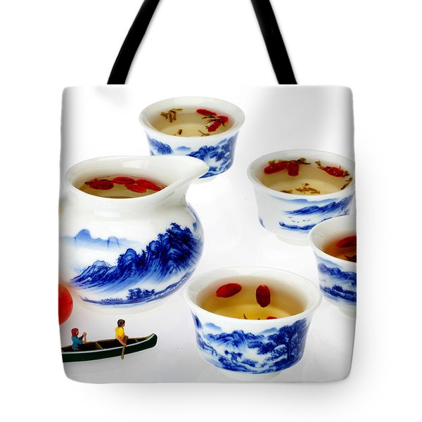 Boating Among China Tea Cups Little People On Food Tote Bag by Paul Ge