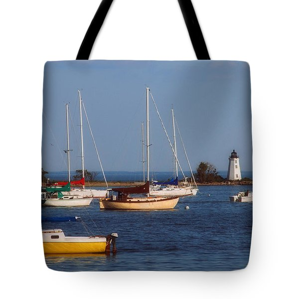 Boating On Long Island Sound Tote Bag by Joann Vitali