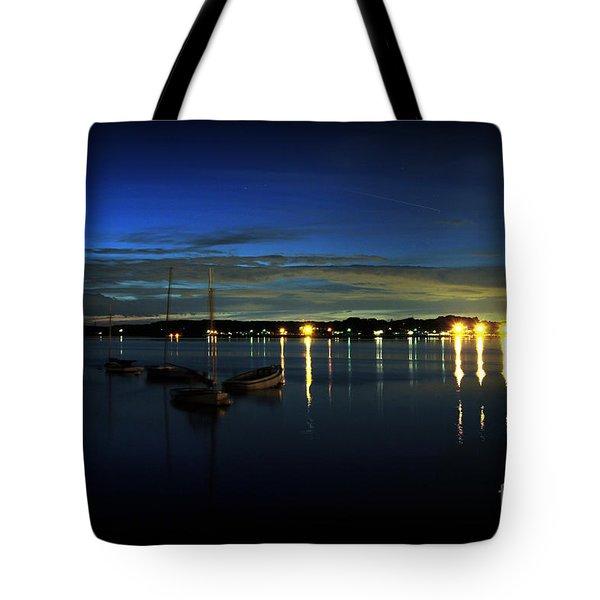 Boating - The Marina at Night Tote Bag by Paul Ward