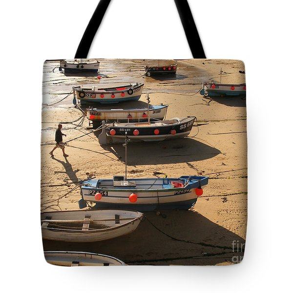 Boats On Beach Tote Bag by Pixel  Chimp